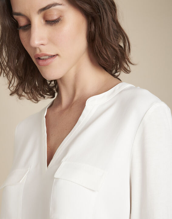 Bimaterial ecru blouse with Genna Henly collar  (3) - Maison 123