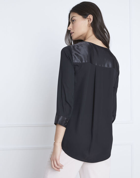Valeria black blouse with satin-effect details (4) - Maison 123