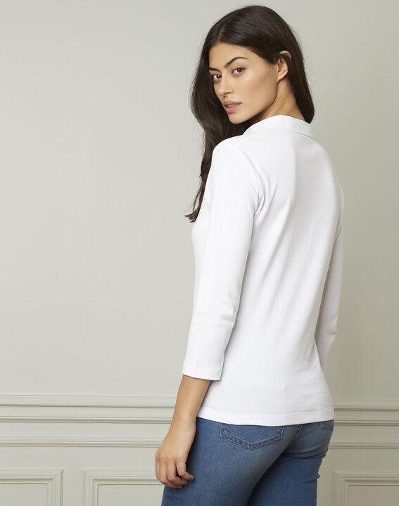 Primerose white lurex T-shirt with V neckline (3) - Maison 123