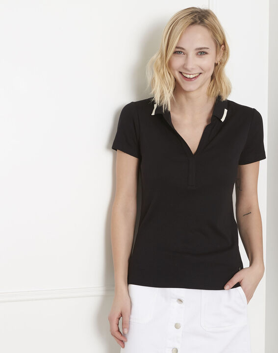 Prudence black T-shirt with polo-shirt neck PhotoZ | 1-2-3