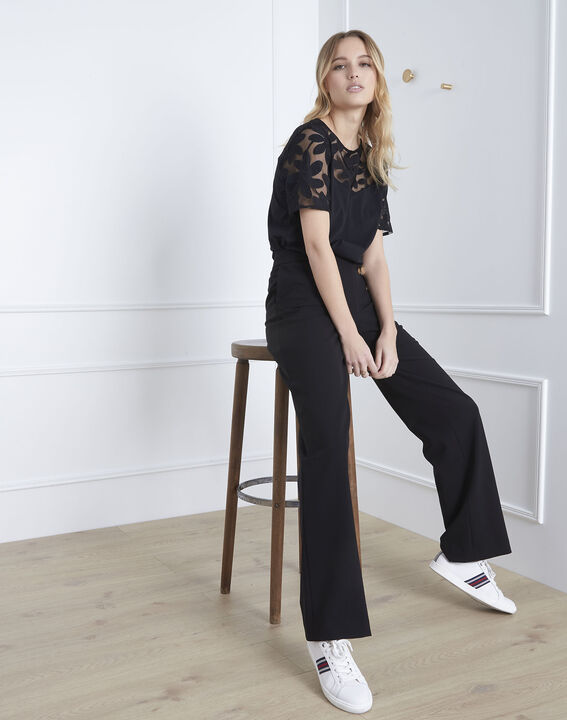 Port Louis black T-shirt with lace embroidery (2) - Maison 123