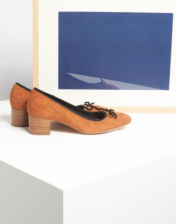 Kalista camel velvet-effect shoes with square heels PhotoZ | 1-2-3