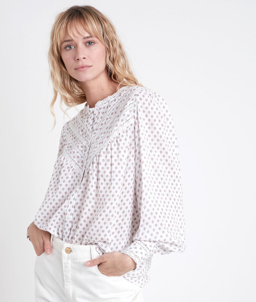TOMY ecru printed blouse PhotoZ | 1-2-3