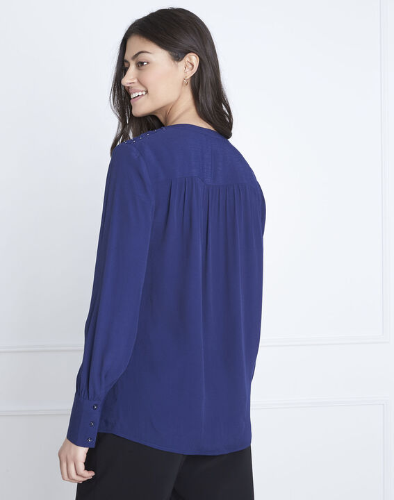 Valda navy fluid-cut blouse (4) - Maison 123