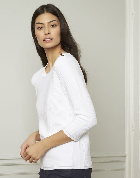 Avocado white pullover with buttons and lurex details (1) - Maison 123