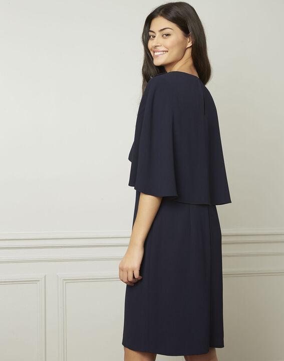 Heidi navy dress with cape detail  (3) - Maison 123