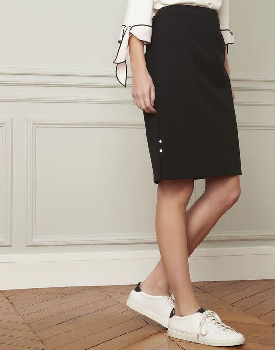 Alex black straight microfibre skirt PhotoZ | 1-2-3