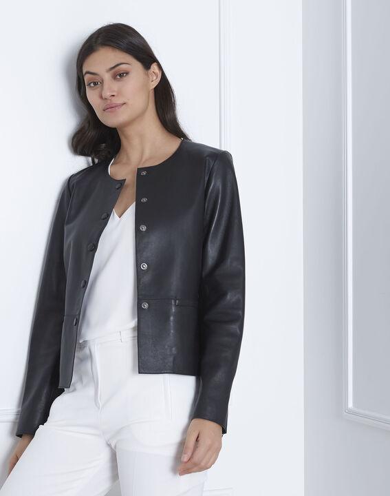 Thea black leather jacket (2) - Maison 123