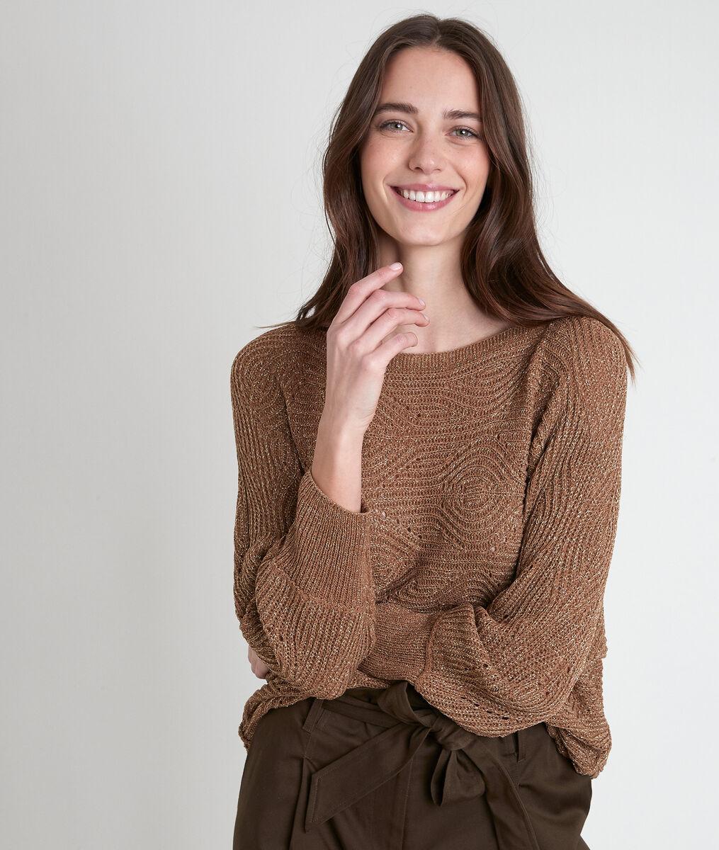 Amy khaki openwork jumper PhotoZ | 1-2-3