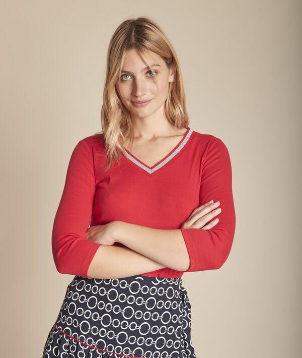 Calypso red T-shirt with fancy V-neckline PhotoZ   1-2-3