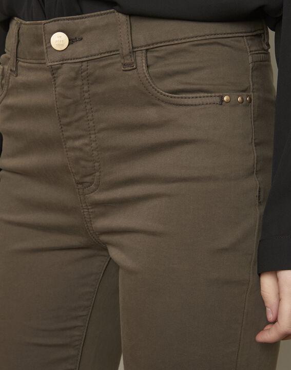 Vendome khaki slim-cut 7/8-length cotton jeans (4) - Maison 123