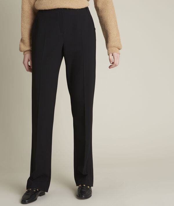 Enio straight leg microfibre trousers PhotoZ   1-2-3