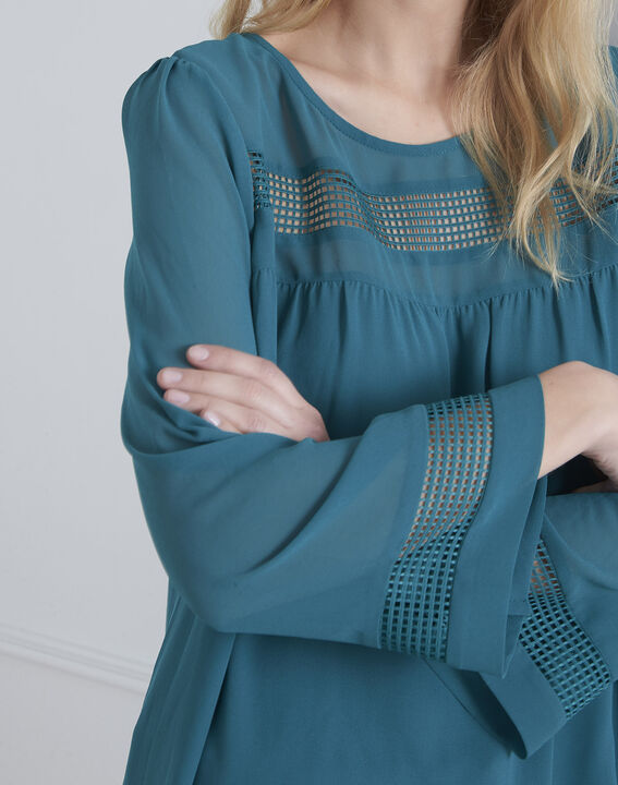 Verana green blouse with lace insert (3) - Maison 123