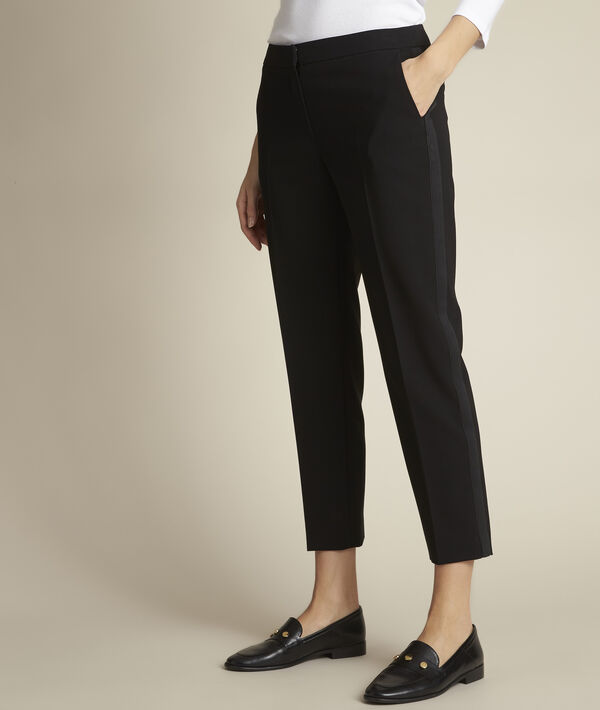 Suzanne sky-blue microfibre cigarette trousers PhotoZ | 1-2-3
