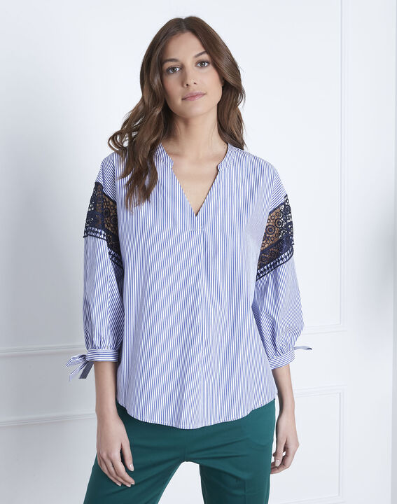 Veronique embroidered blue striped blouse PhotoZ | 1-2-3