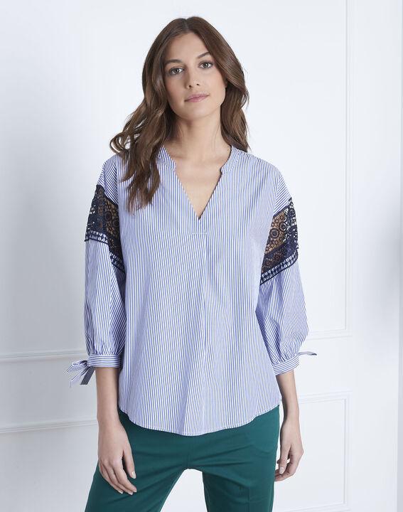 Veronique embroidered blue striped blouse (2) - Maison 123