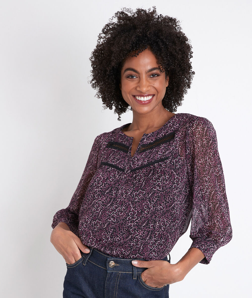 Juan printed fuchsia blouse PhotoZ | 1-2-3