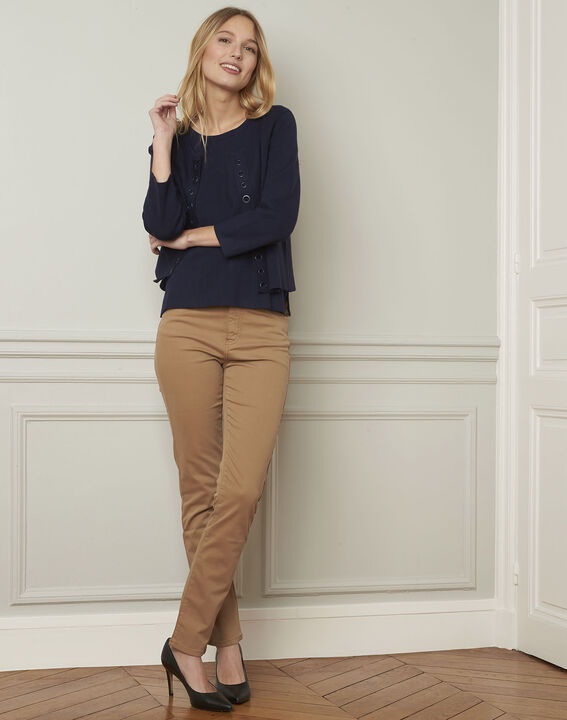Abricot navy pullover with compact eyelets  (2) - Maison 123