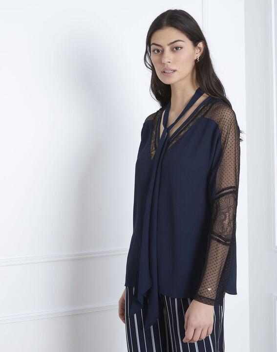 Verica navy lace tie blouse (2) - Maison 123