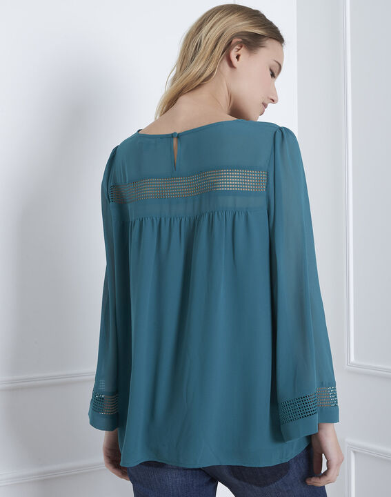 Verana green blouse with lace insert (4) - Maison 123