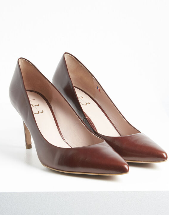 Kelly pointed toe high heels in brown leather PhotoZ | 1-2-3