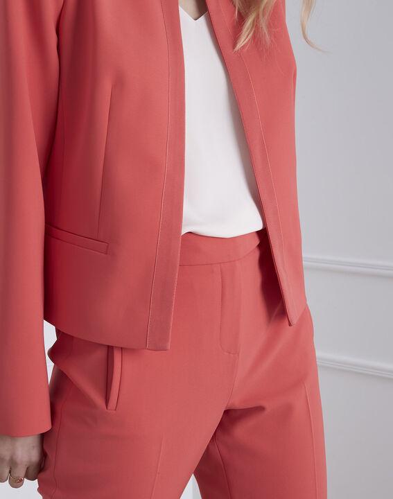 Charme coral microfibre and grosgrain jacket (3) - Maison 123