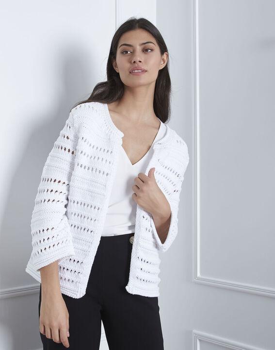 Arctic white textured cardigan PhotoZ | 1-2-3
