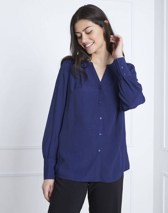 Valda navy fluid-cut blouse (2) - Maison 123