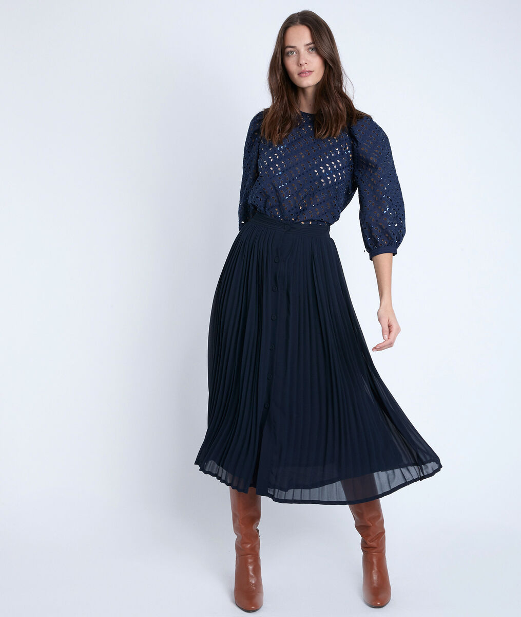 Eva navy pleated skirt PhotoZ | 1-2-3
