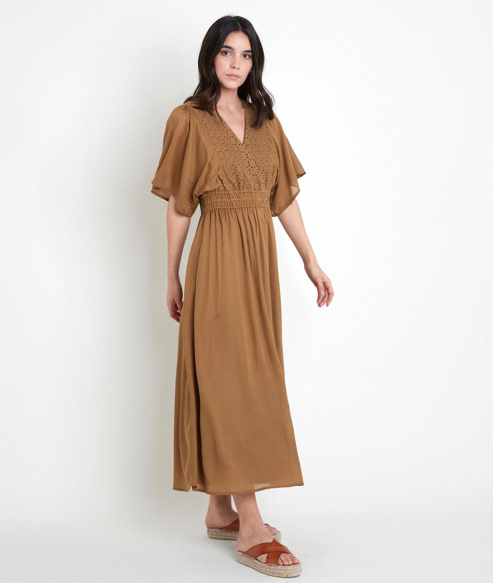 LAURETTA embroidered bronze-coloured dress PhotoZ   1-2-3