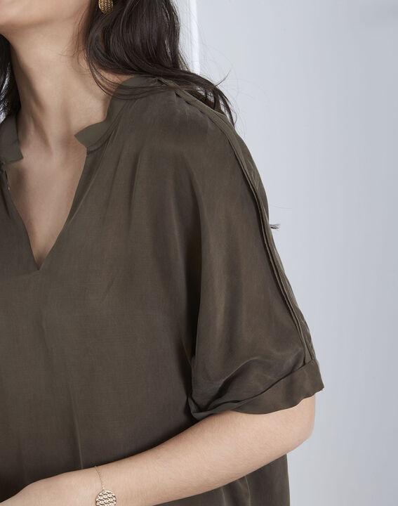 Venise khaki bi-material blouse (3) - Maison 123