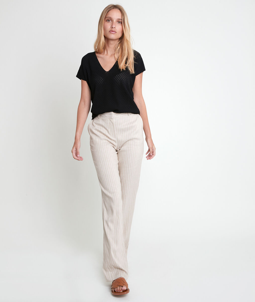 Aline black openwork Ecovero®  viscose pullover PhotoZ | 1-2-3