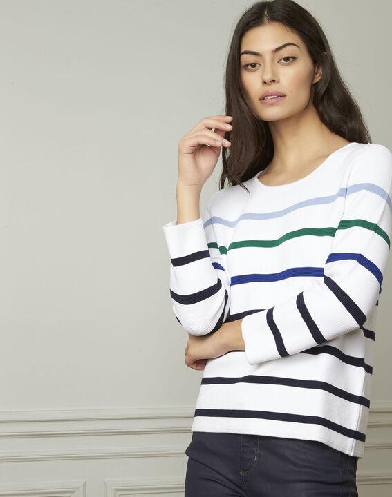 Nacadamia white viscose blend pullover with coloured stripes (1) - Maison 123