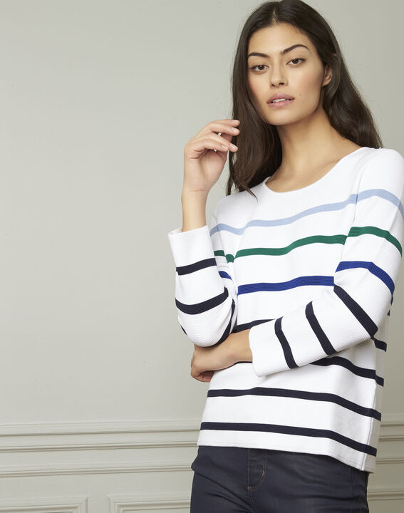 Nacadamia white viscose blend pullover with coloured stripes (1) - Maison 123