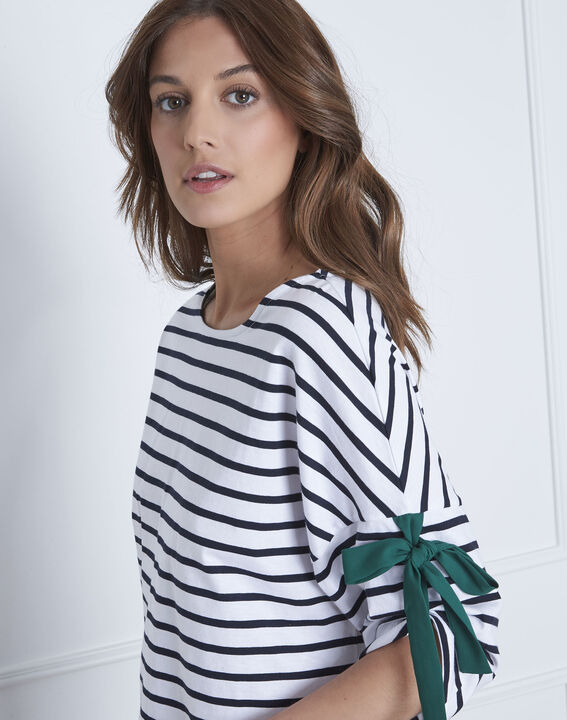 Portland white striped T-shirt with ties (3) - Maison 123