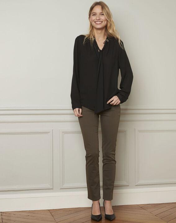 Vendome khaki slim-cut 7/8-length cotton jeans (1) - Maison 123