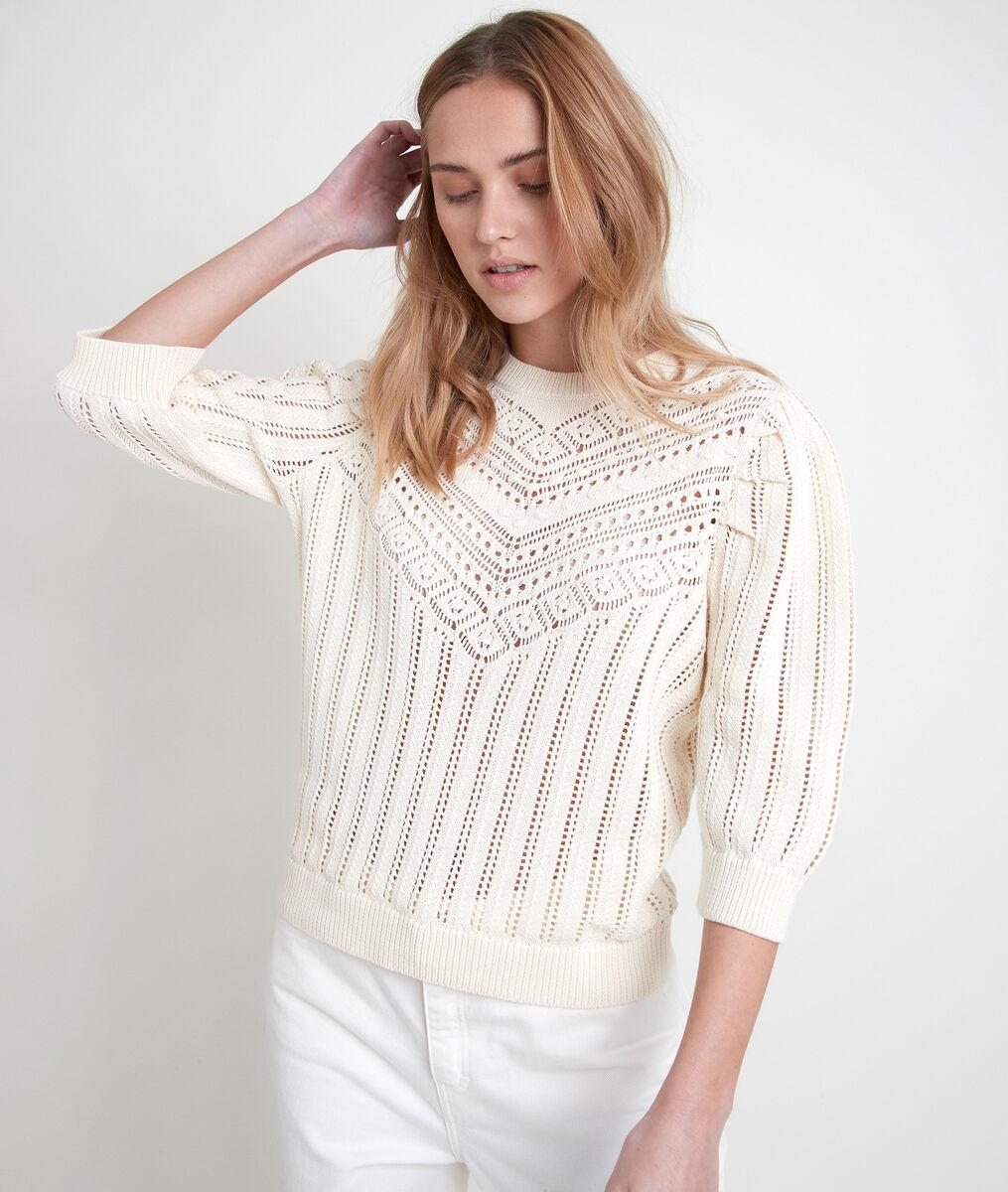 ALTO beige organic cotton openwork jumper PhotoZ   1-2-3
