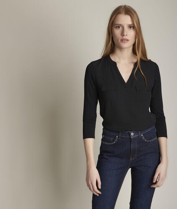Genna black dual-fabric blouse PhotoZ | 1-2-3