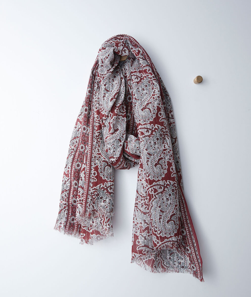 Bianca red cashmere printed scarf PhotoZ | 1-2-3