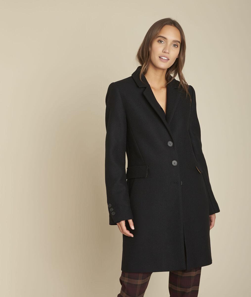 Plume Straight Black Wool Coat Women Maison 123