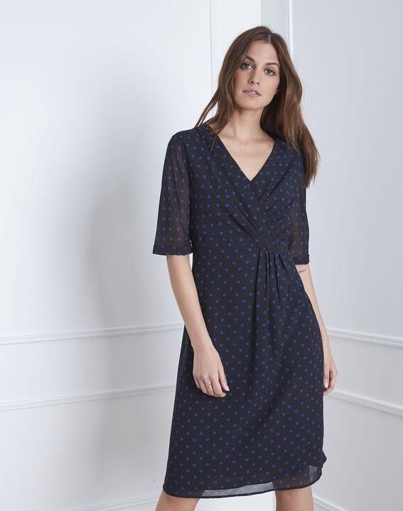 """Lovely"" dotted navy wrap dress (1) - Maison 123"