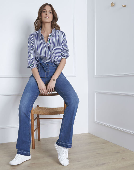 Coralie flared belted indigo jeans (1) - Maison 123