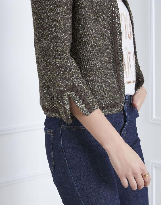 Amour khaki decorative knit cardigan (3) - Maison 123