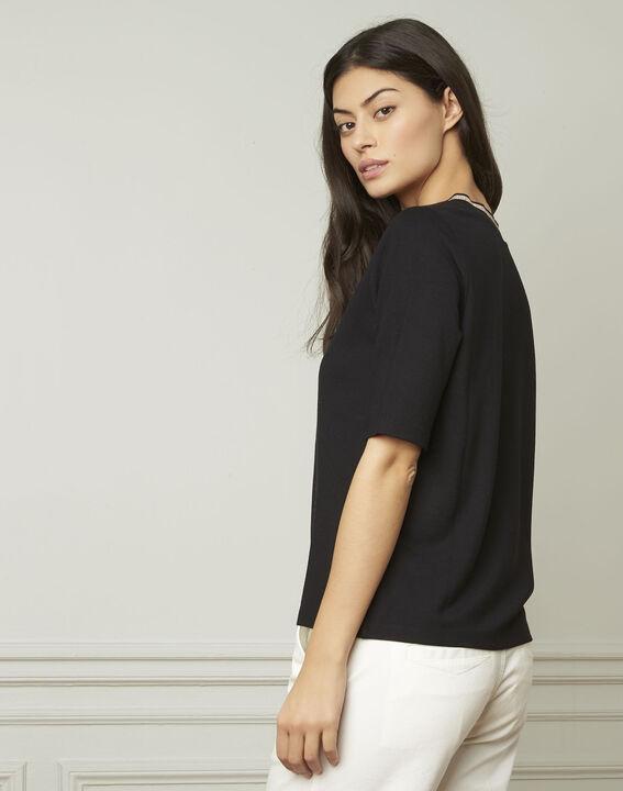 Pluie black lurex V-neckline T-shirt (3) - Maison 123