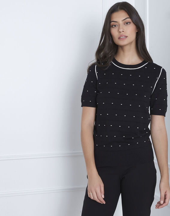 Arles black relief knit pullover (1) - Maison 123