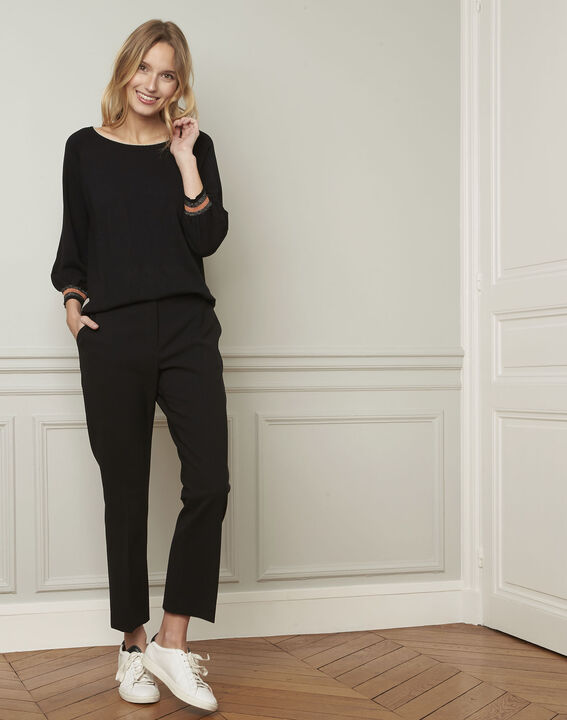 Amarante black sporty style pullover with lurex details (2) - Maison 123