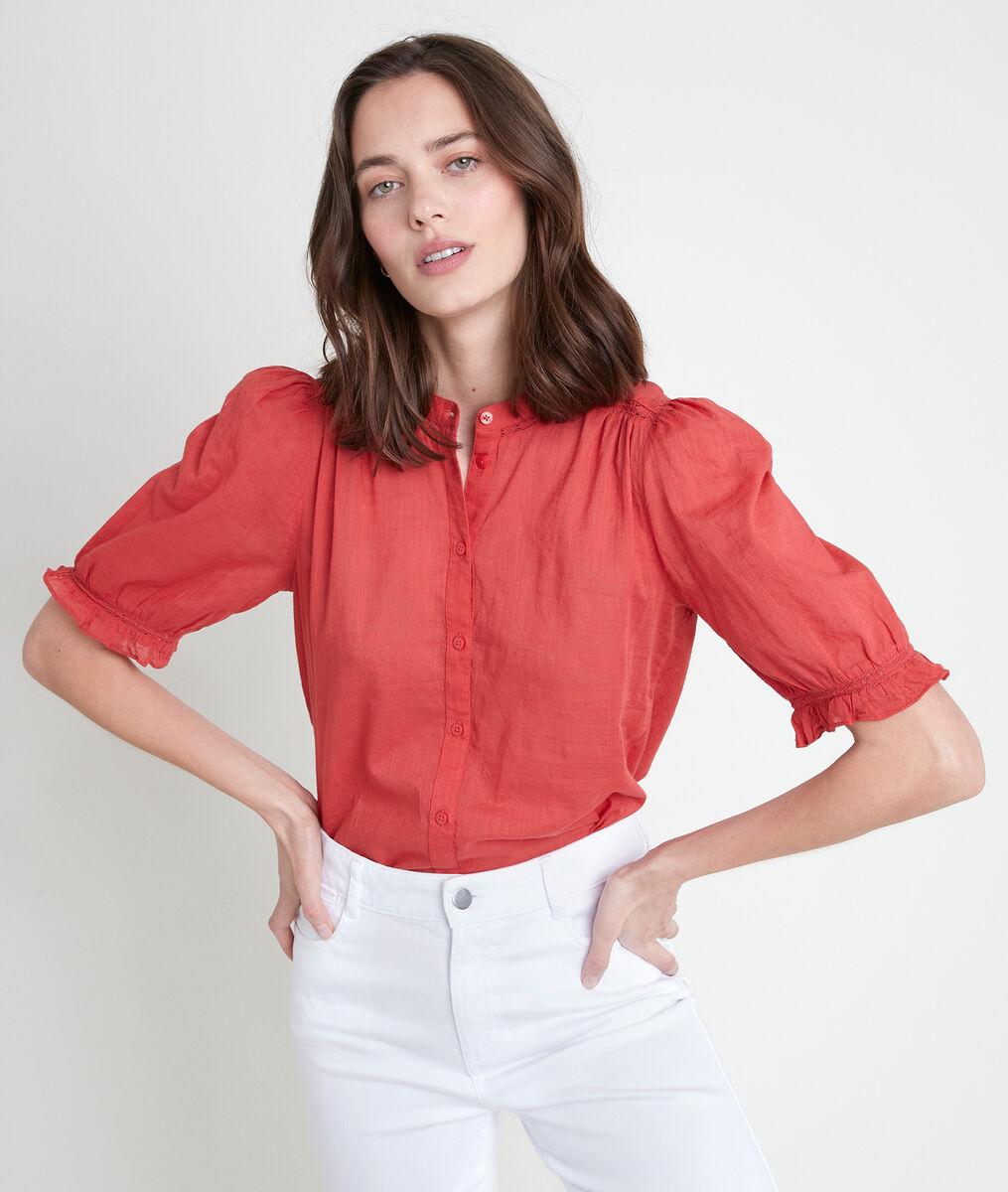 TAL guava-coloured cotton blouse PhotoZ | 1-2-3