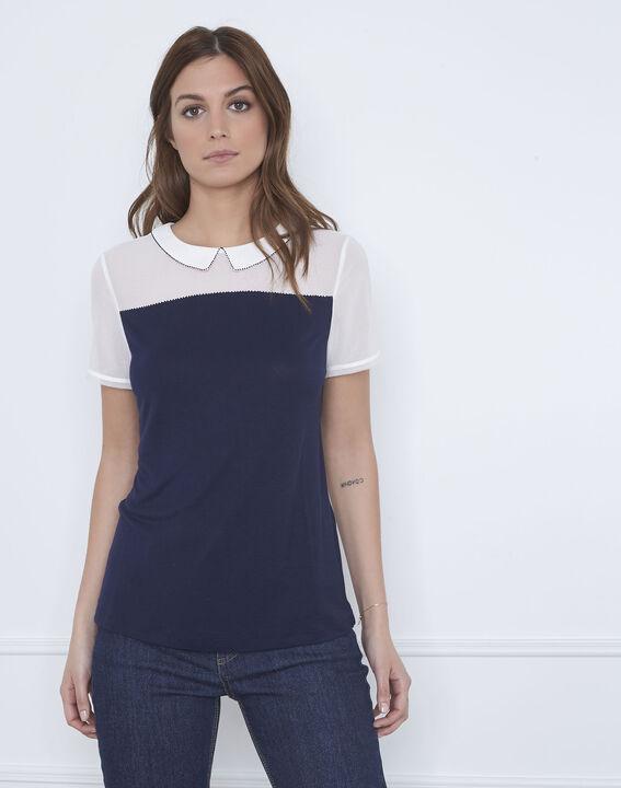 Paris navy T-shirt with decorative neck (1) - Maison 123
