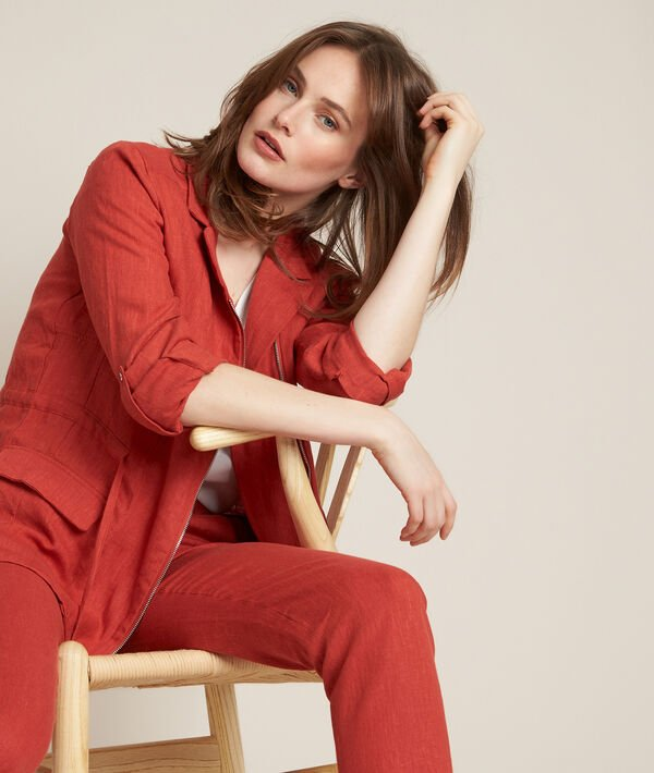Lucie brick-red linen safari jacket PhotoZ | 1-2-3