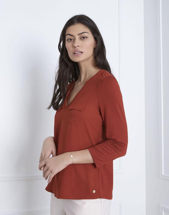 Genna mahogany bi-material blouse PhotoZ | 1-2-3